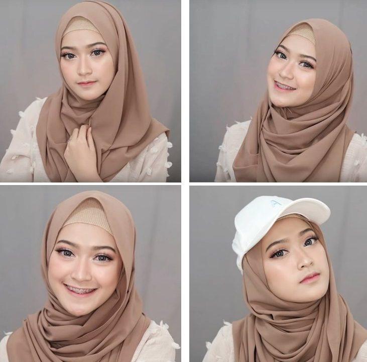 4 tutorial hijab pashmina simple