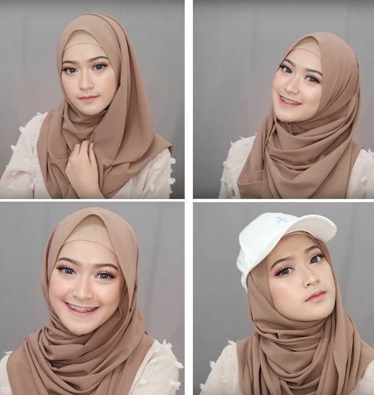 4 tutorial hijab pashmina simple